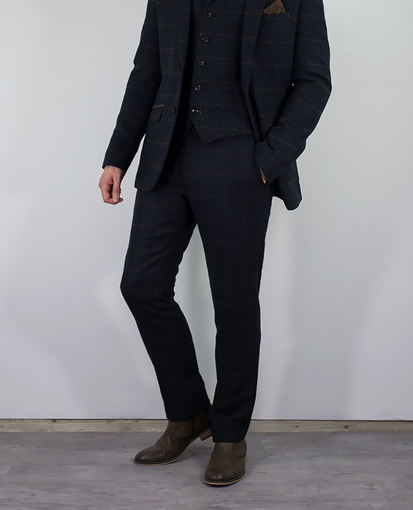 House of Cavani Kemson Navy Skinny Suit