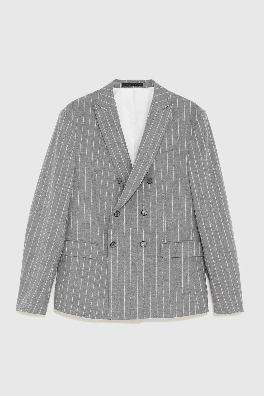 Grey Pinstripe Striped Blazer by ZARA MAN
