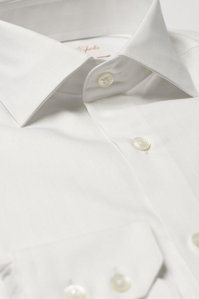 White Herringbone Cotton Shirt by Hawkins & Shepherd