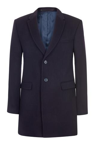 Single Breasted Navy 100% British Cashmere Overcoat
