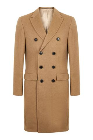 Double Breasted Camel 100% British Cashmere Overcoat