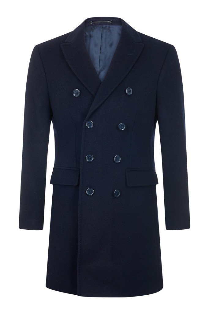 Double Breasted Navy 100% British Cashmere Overcoat
