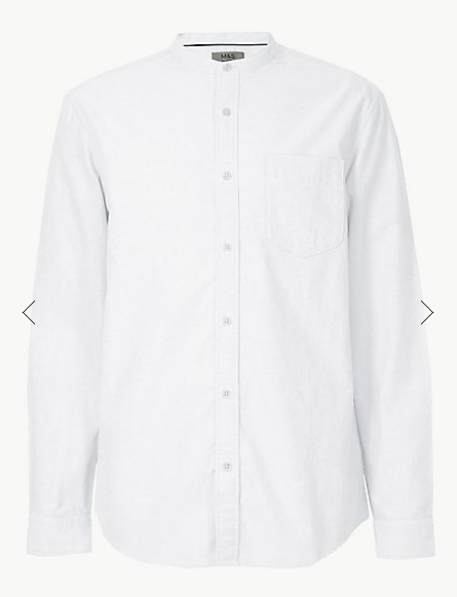 White Pure Cotton Shirt with Pocket