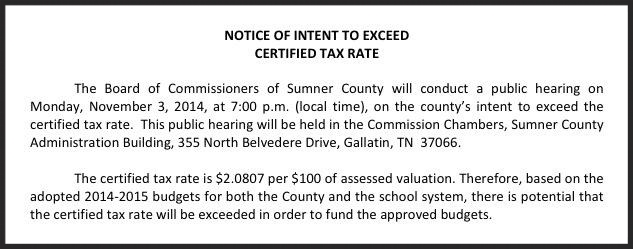 Meeting notice published in area newspapers and on the Sumner County Commission website: http://www.sumnertags.com/Commission/Notice_of_Meetings