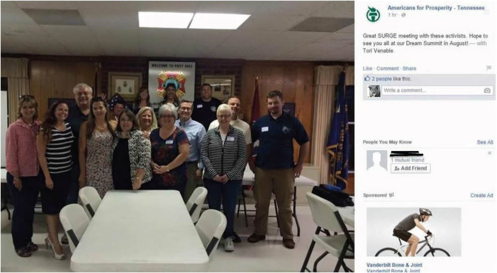 A Facebook post by Americans For Prosperity - TN: Members of AFP, SURG and anti public school activists from Williamson County meeting in Hendersonville, TN.