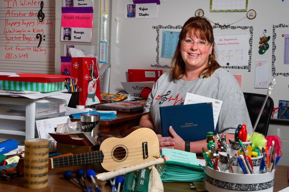 """It is so important to help the students understand how to best respect the art of performance."" A fifteen-year veteran of HB Williams Elementary School, Bethany Stepleton is a Music Teacher, Sound Effects Director, and Encore! Executive Music Director."