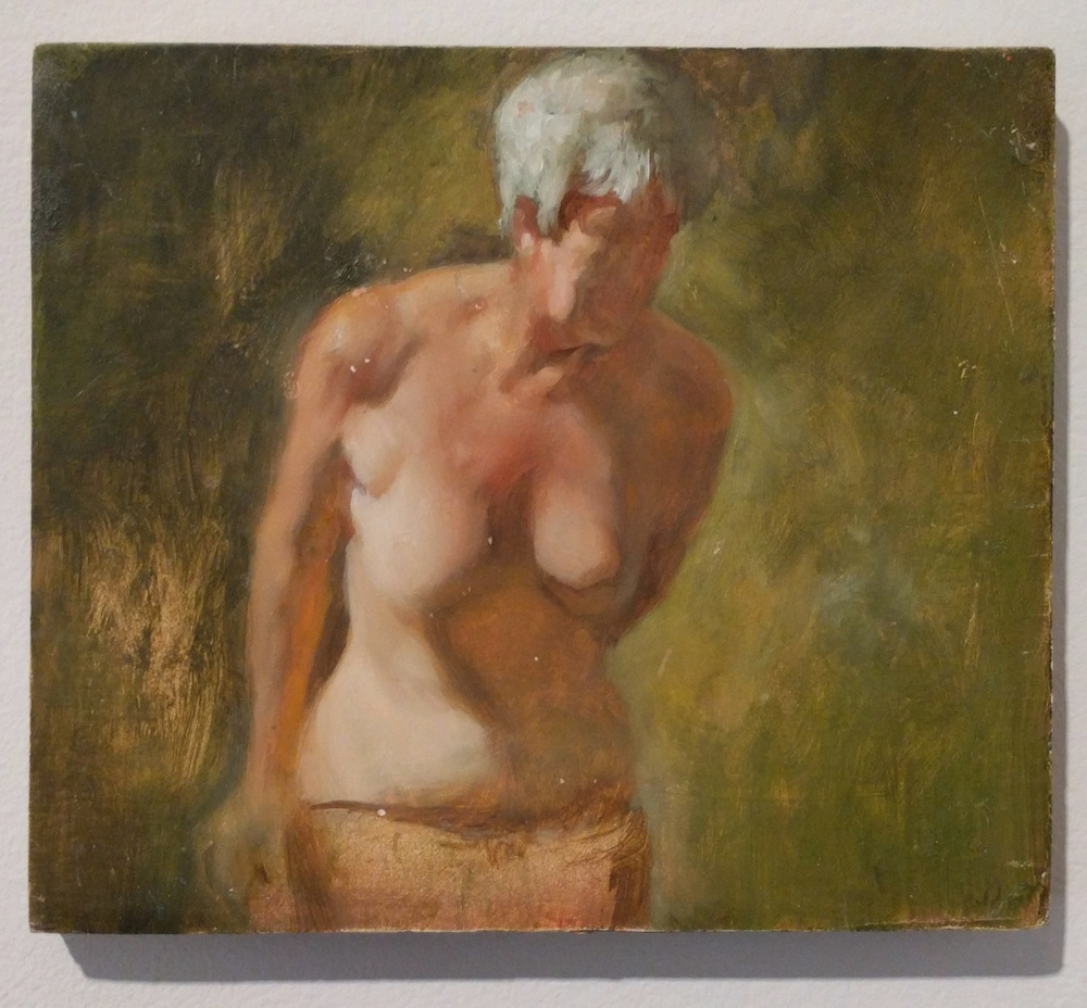 "William Doebele ""Lady on Green"" 2013 oil on wood, 5 x 6 in."