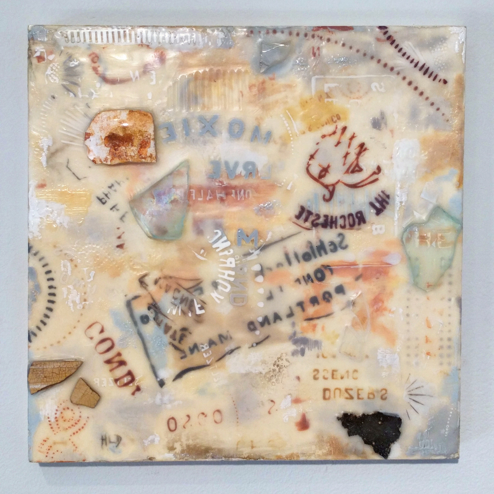 "Heather Douglas ""Trash Talk I"" 2014 encaustic mixed media, 10 x 10 in."