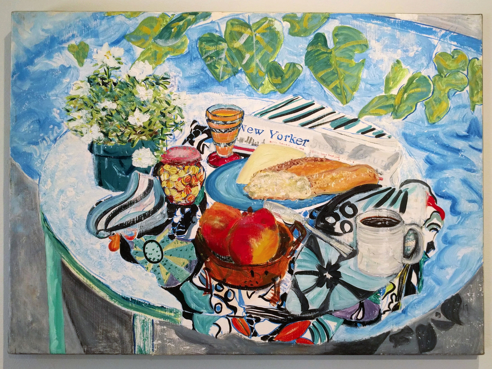 "Olivia Korringa ""Breakfast by the Pool"" 2006 oil on linen, 24 x 33 in."
