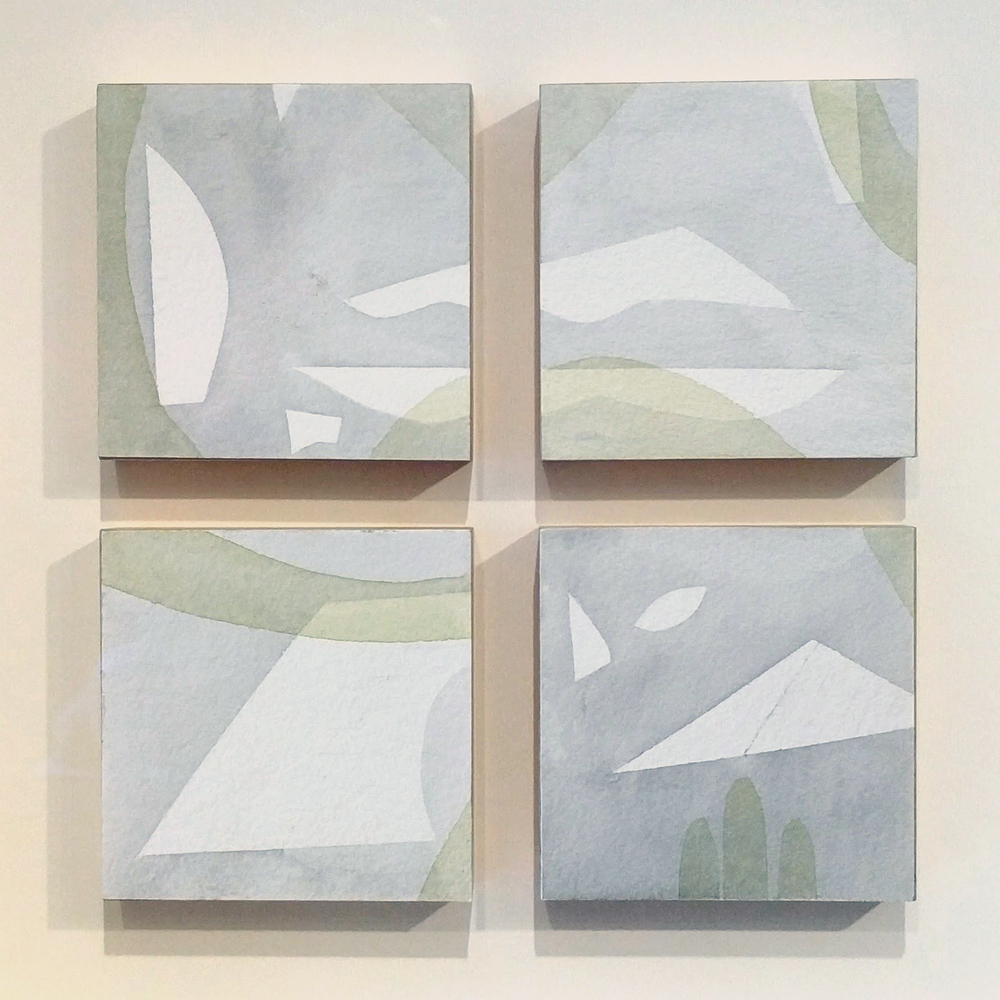 "Renee Khatami ""Gray and Green"" 2016 mixed media, 15 x 15 in."