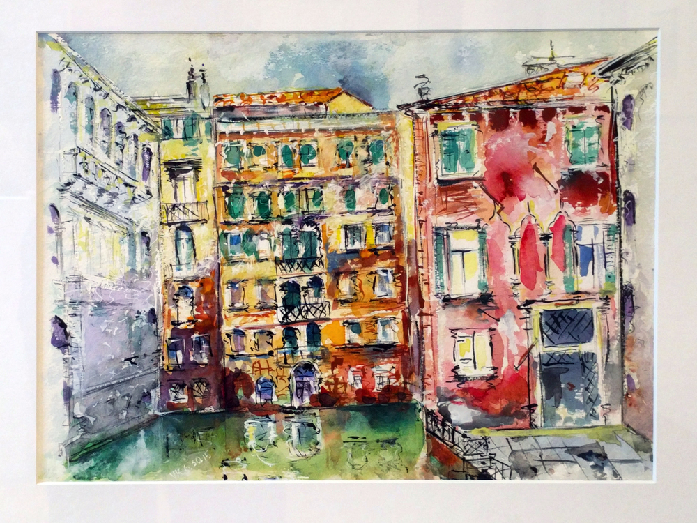 "Vladimir Kezerashvili ""Venice"" 2015 watercolor on paper, 11 x 15 in."