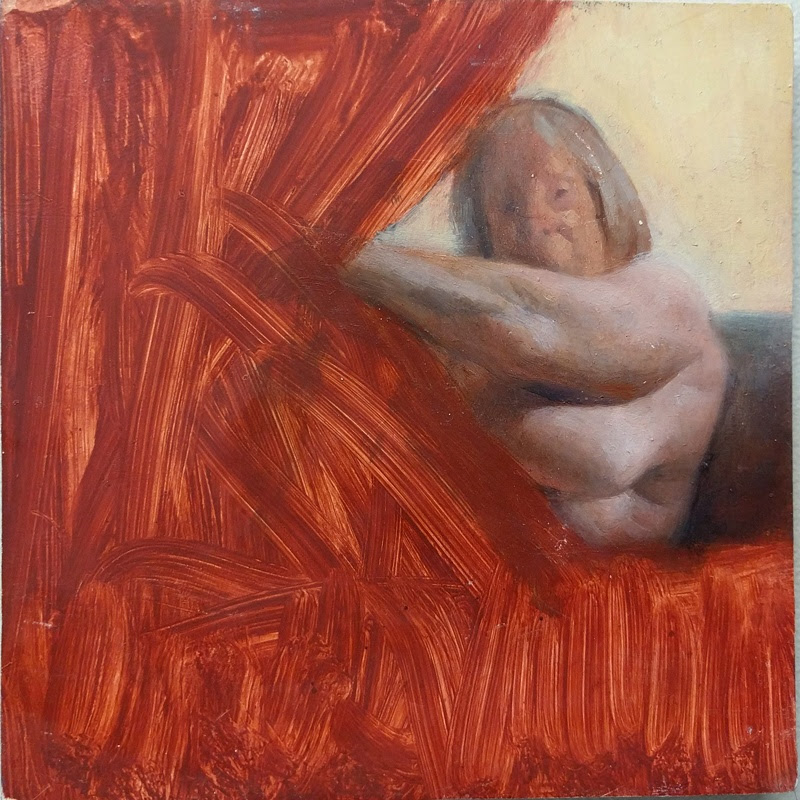 "William Doebele ""Lady Behind Red Curtain"" 2013 oil on wood, 5 x 5 in."