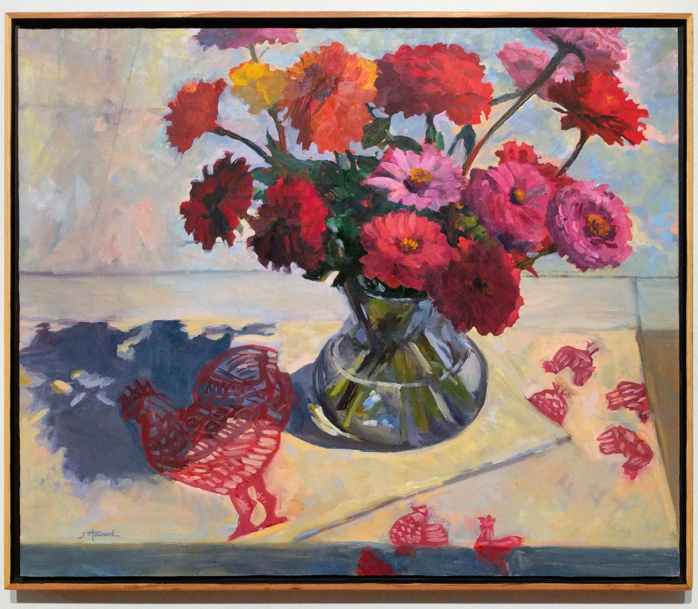 "Janet Howard-Fatta ""Zinnias With Chickens"" 2015 oil on panel, 24 x 20 in."