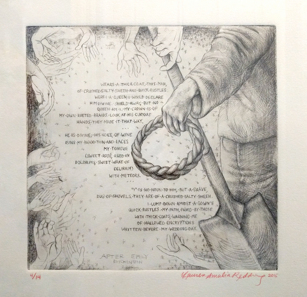 "Lauren Amalia Redding ""After Emily Dickinson"" 2015  drypoint etching on paper, ed. 1/14, 8 x 8 in. (print)"
