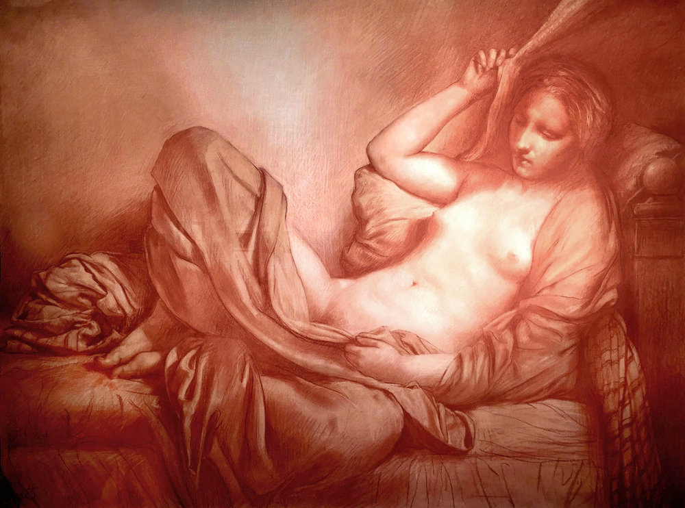 "Edward Schmidt, ""Danae II"" 2016 sanguine & white chalk on prepared paper, 30 x 40 in."