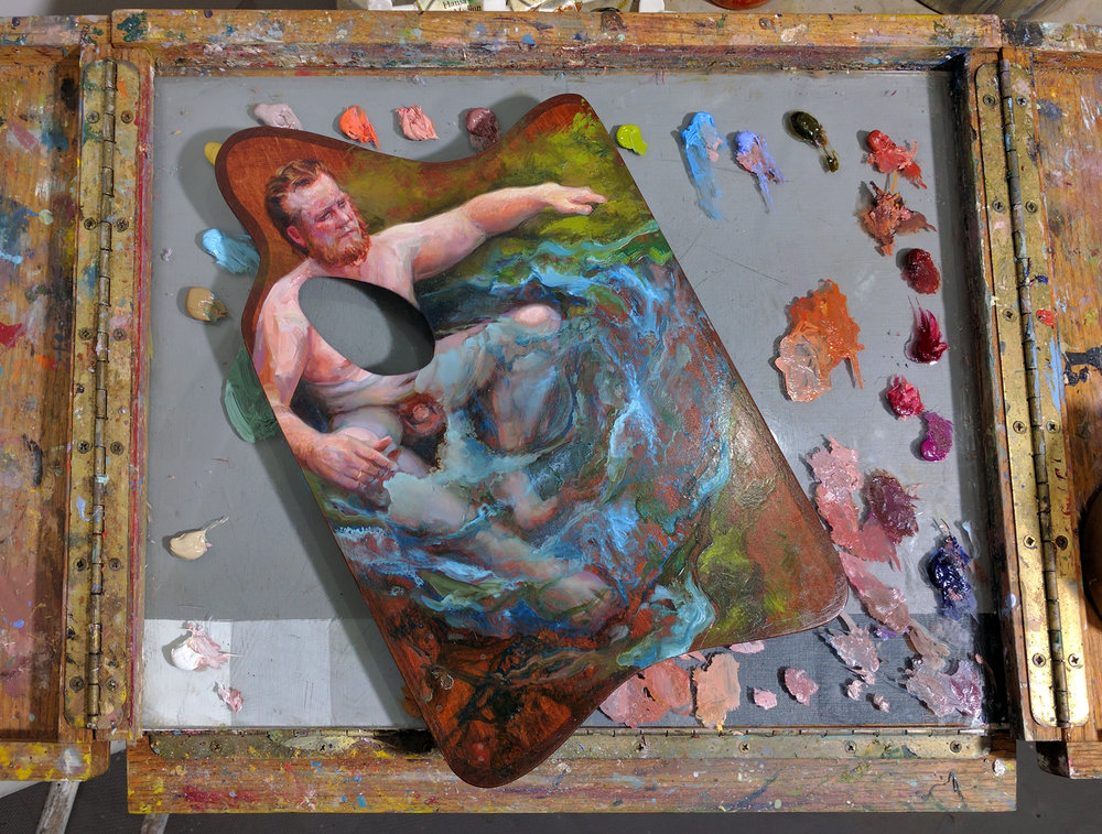 "A work-in-progress view of my painted palette (on my current painting palette) for the show, ""Le Source"" - on a wooden palette my husband hand made for me when I was just beginning to learn how to paint."