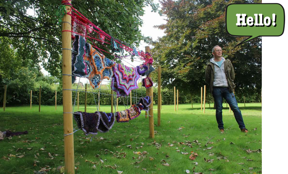 Paul is pictured here with a yarn-bombing project in the grounds of Fulbourn Hospital.  Photo by Stephen Harper-Scott.
