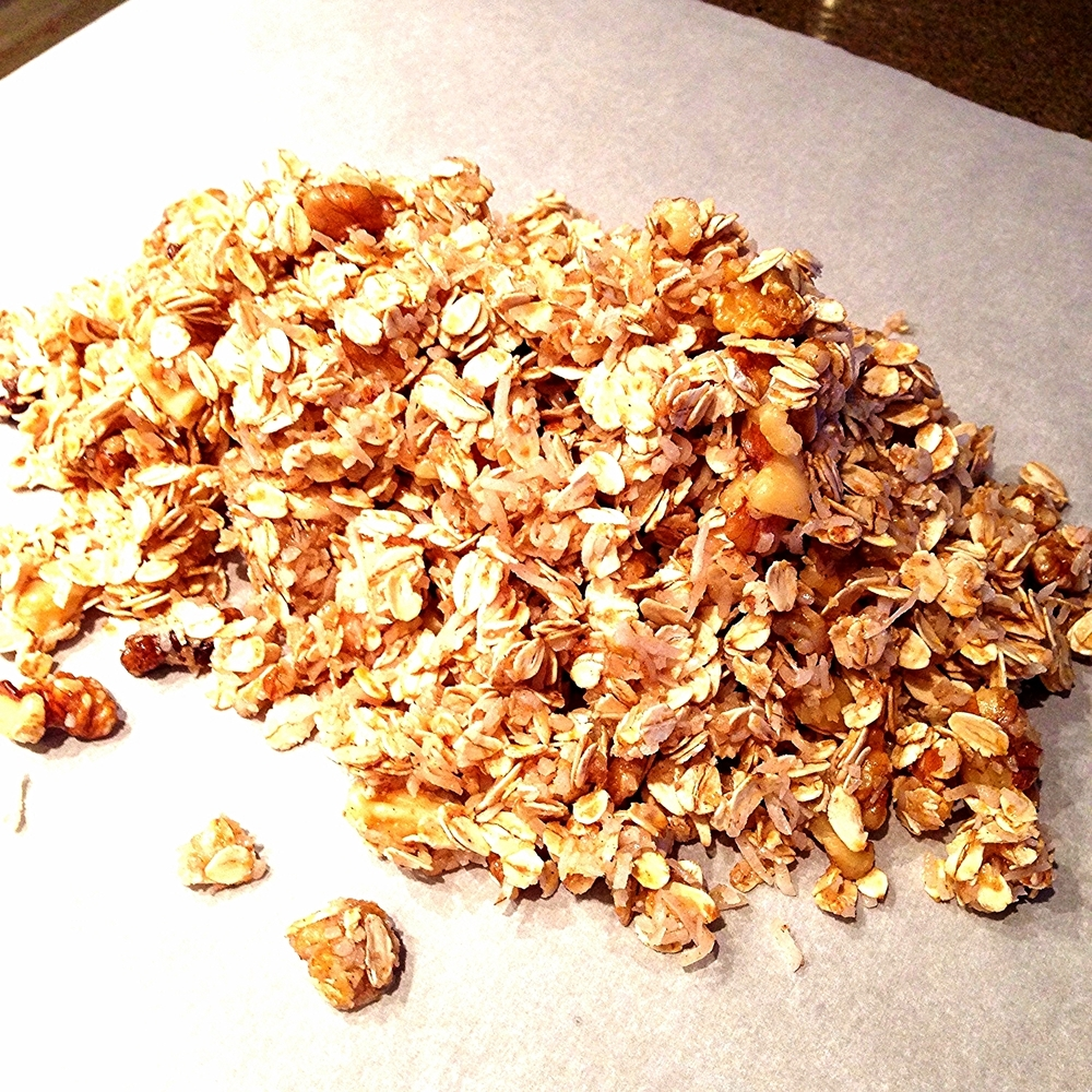Blended granola mixture.