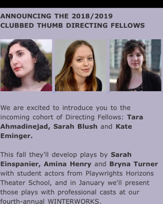 Sarah is a 2018-19 Clubbed Thumb Directing Fellow! - She will be developing Amina Henry's play Bully