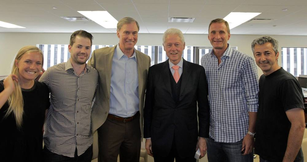 With President Bill Clinton after an interview for  The Garden's Defining Moments .  From L to R: Producer McKenzie Barney, Senior Producer Dan Galway,Executive Producer & Host Fran Healy, President Bill Clinton, Founder & Executive Producer Roman Gackowski, Director of Photography Chris Kostianis