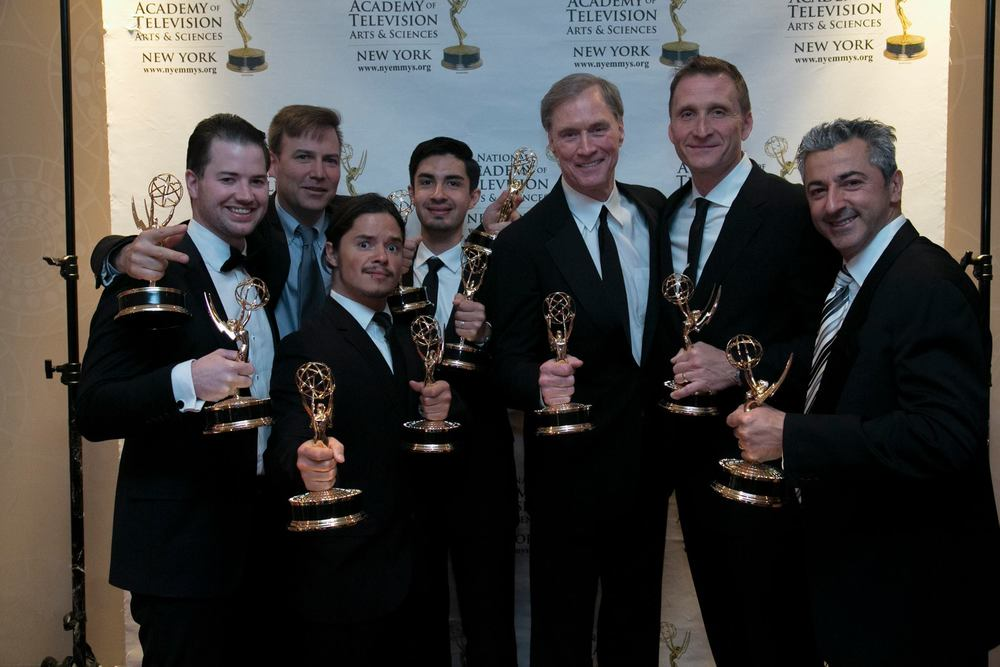 At the New York Emmy Awards.  From L to R: Senior Producer Dan Galway, Senior Editor Lee Umphred, Producer Filipe DeAndrade, Director of Technical Operations John Ibarra, Host & Executive Producer Fran Healy, Founder & Executive Producer Roman Gackowski, Director of Photography Chris Kostianis.
