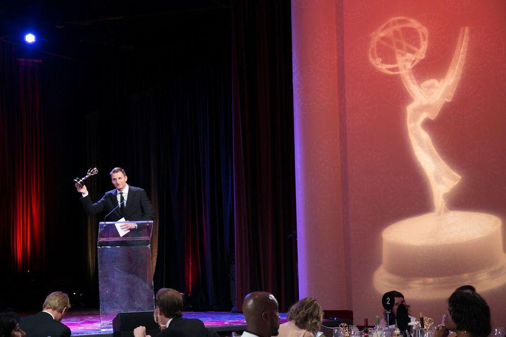 Founder and Executive Producer Roman Gackowski accepting an Emmy.