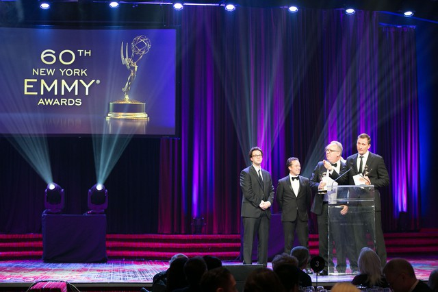 Sean Paulsen, Charles Tabano, Kevin Koltz and Roman Gackowski accept an Emmy for  The Garden's Defining Moments.