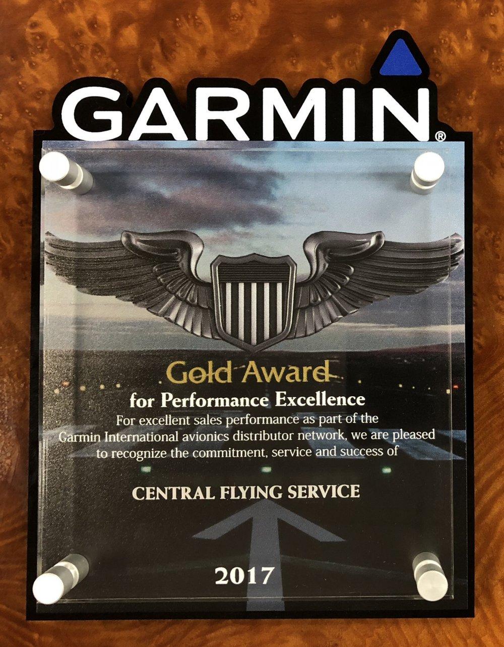 One of Garmin's most prestigious awards: Central's Award Winning Avionics Shop lands in the Top 10% of Garmin Distributors Worldwide.