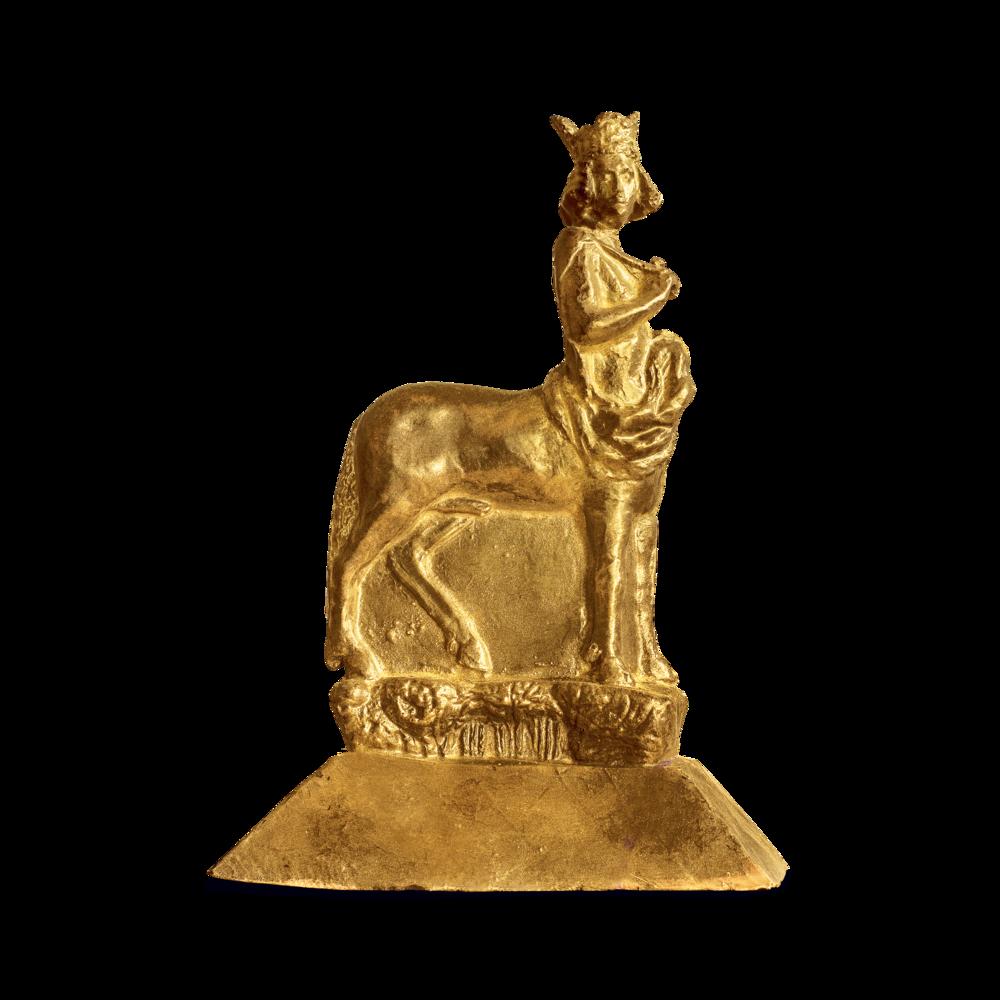 Über diese Trophäe durften sich die Preisträger freuen: Der Bamberger Reiter aus Schokolade