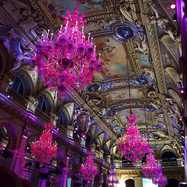 Truly a spectacular night to remember before the madness. 11/10/15  #fuchsia #chandeliers at the #goldenblogawards #hoteldeville #parisjetaime #elandujour