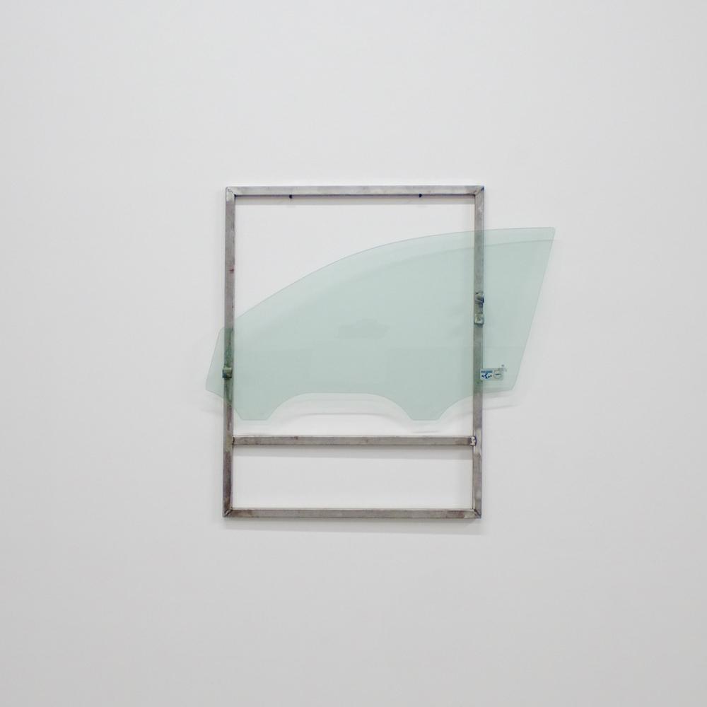 "Bennet Schlesinger ""Frame 1.1, 2015, steel and tempered glass."""