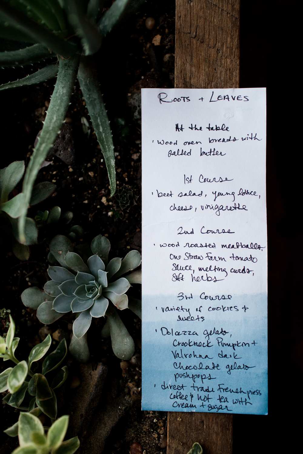 Had so much fun hand-dyeing the menus with organic indigo