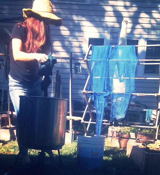 Dye Vat, Plastic bucket filled with water for rinsing, drying rack- all completely necessary for the dye space.