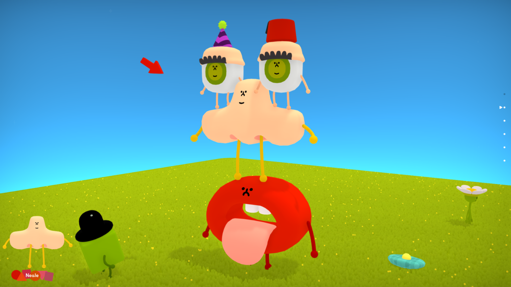 Go Ahead, Goof Around :-) - Wattam is the ultimate goof-around simulation. See what kinds of silly things happen when you push the limits of the game's physics and animations to create crazy and comical results. Solving puzzles, uncovering secrets and playing mini-games has never been weirder or more wonderful. The sheer multitude of friendship combinations and hijinks means there's always fun in store.