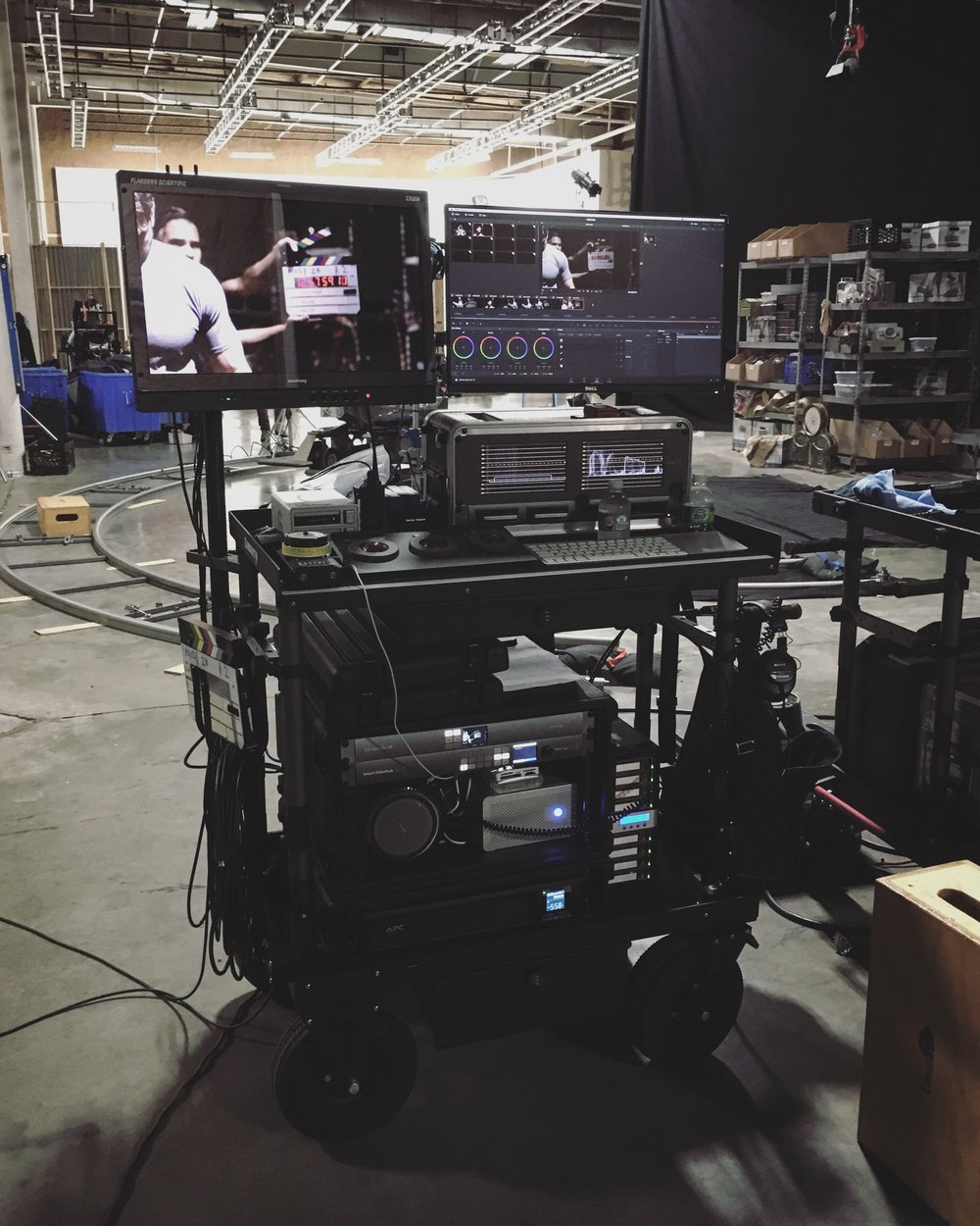 Our DIT cart on set for FIRESTORM, TV pitch pilot.