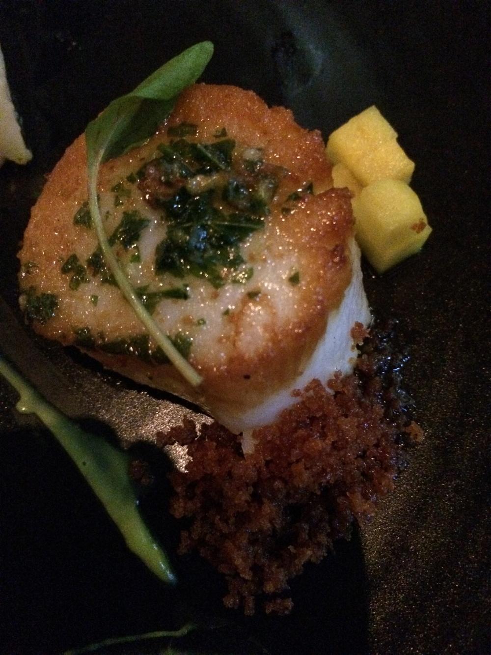 "New Bedford scallops, cauliflower puree, lap cheong, rau ram candlenut ""pesto"""