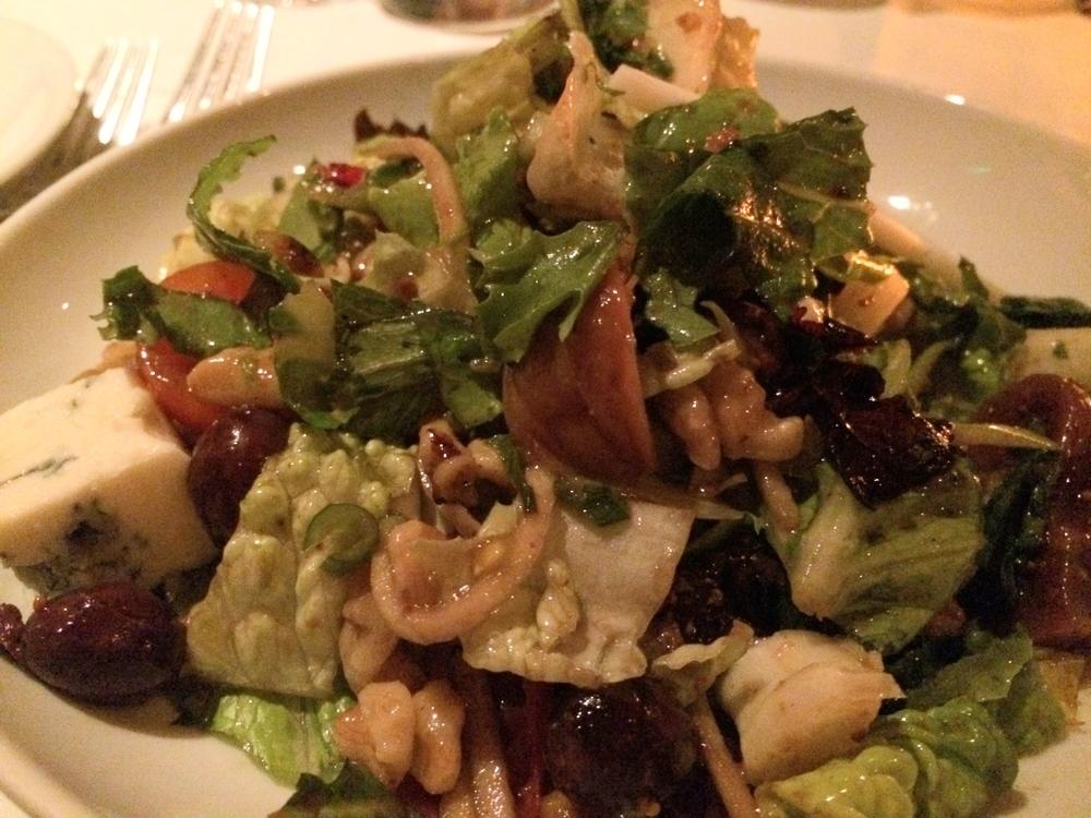 Fig and olive salad, fig, apple, manchego, gorgonzola, tomato, walnut, olive, romaine, mescaline, scallion, fig balsamic and Alberquina olive oil