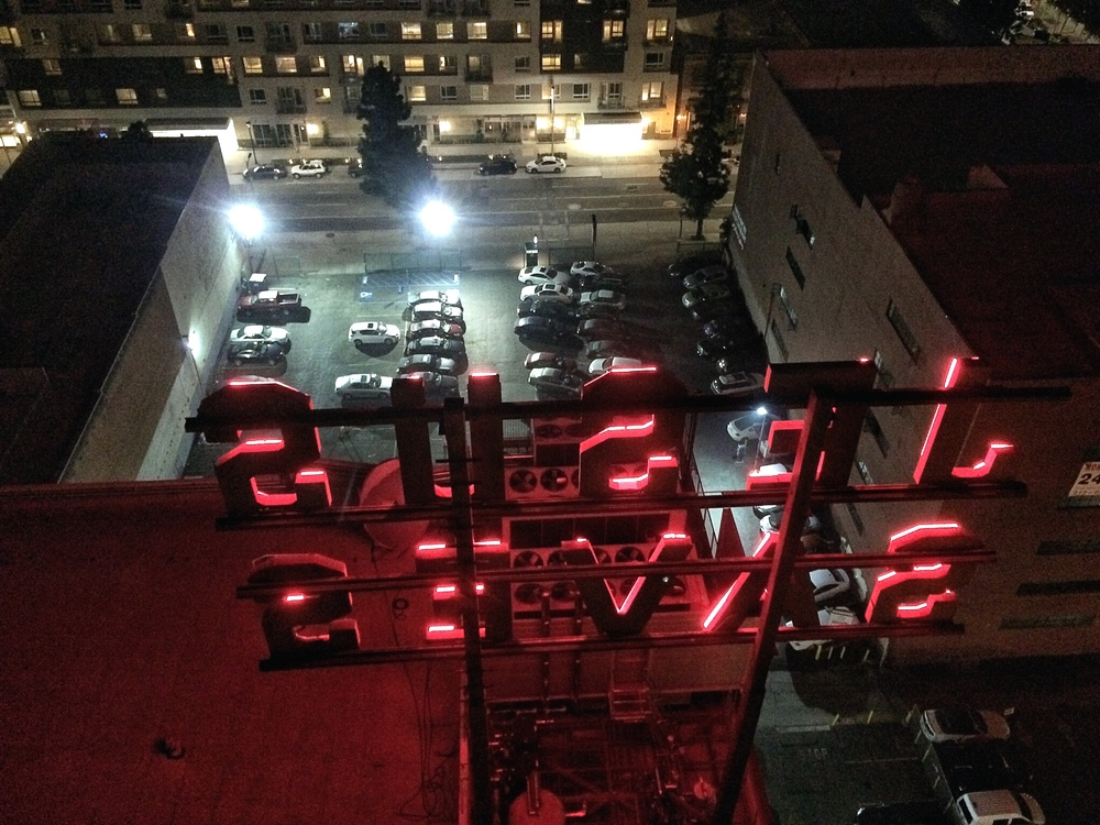 Jesus Saves sign as captured from the Ace Hotel rooftop.