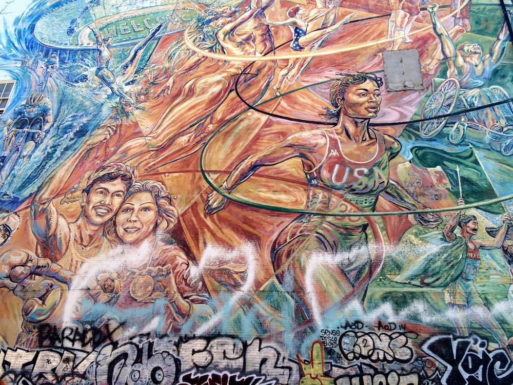 Street mural in honour of the 1984 Olympics.