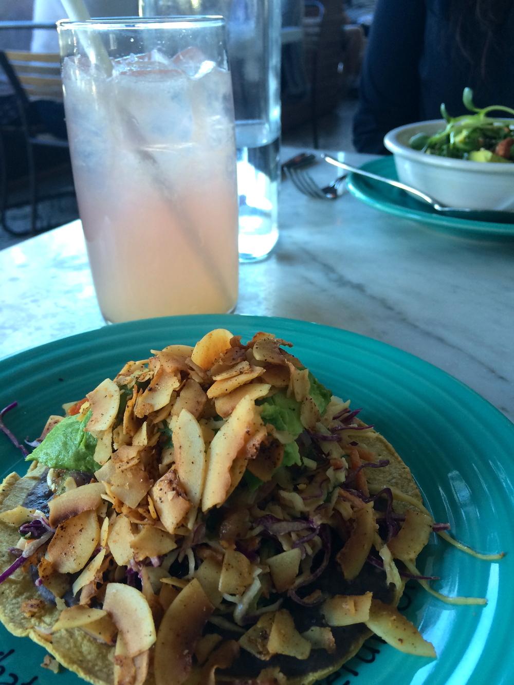Cafe Gratitude - YO SOY FELIZ Portobello Mushroom Tostada.