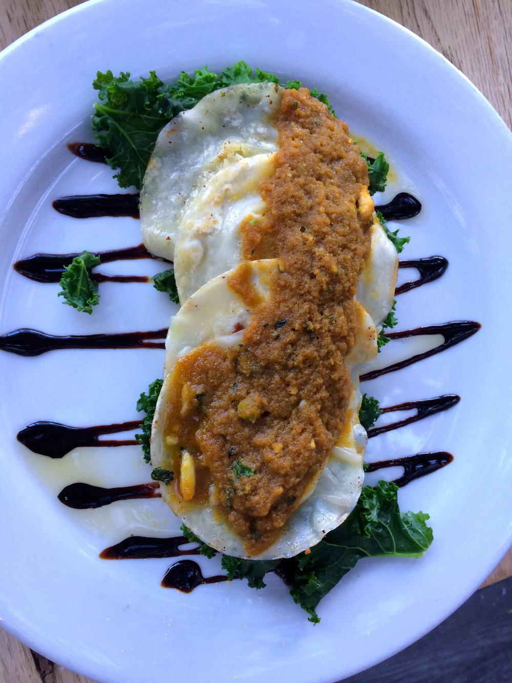 Sage Vegan Bistro - Potato Broccoli Perogies.
