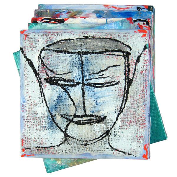 Istanbul Boy,  2007 Mixed media on canvas, 6 panels 20 x 18 x 5.5 in / 50 x 45 x 14 cm