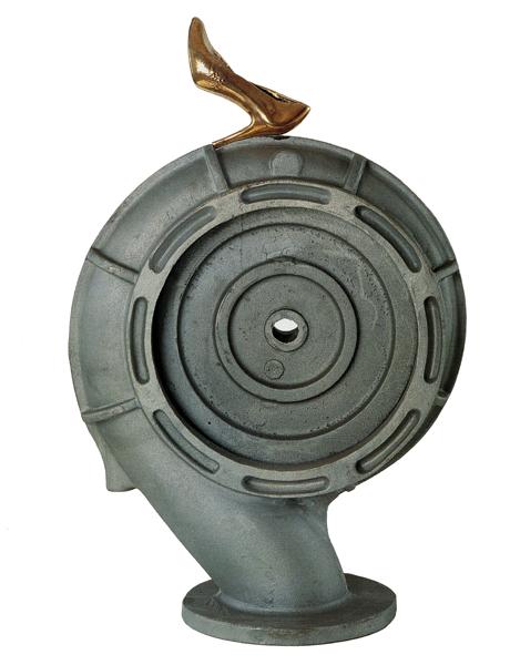 "Double Pump I, 1995 Bronze and treated aluminium  32x22x13""/ 82x56x33 cm"