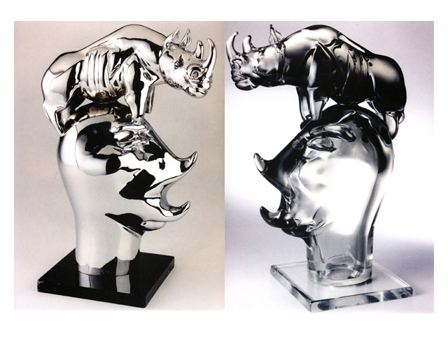 Head Hunter 2003, Bronze Chrome/Glass, 50x33x22cm