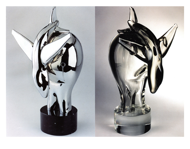 No Fly Zone 2003, Bronze Chrome/Glass, 60x41x29cm