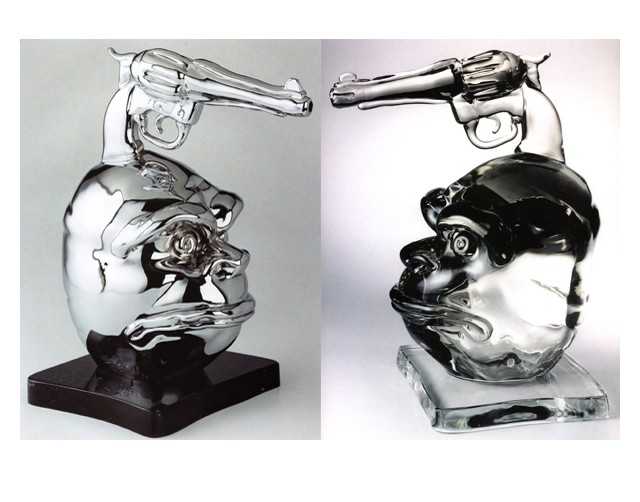 Primitivist 2003, Bronze Chrome/Glass, 43x33x23cm