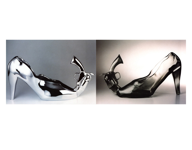 Pistol Shoe 2002/2001, Bronze Chrome/Glass, 65x35x15cm