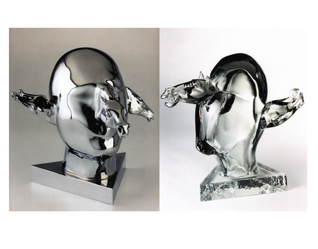 Quixote on Venus 2003, Bronze Chrome/Glass, 38x40x15cm