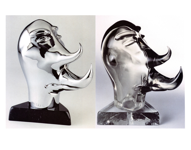 Rhino Head 2003, Bronze Chrome/Glass, 39x38x24cm