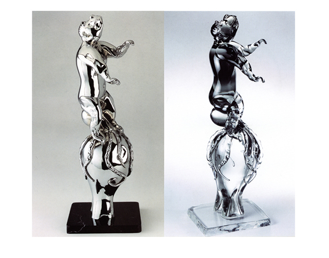 Charlie Darwin 2003, Bronze Chrome/Glass, 67x25x33cm